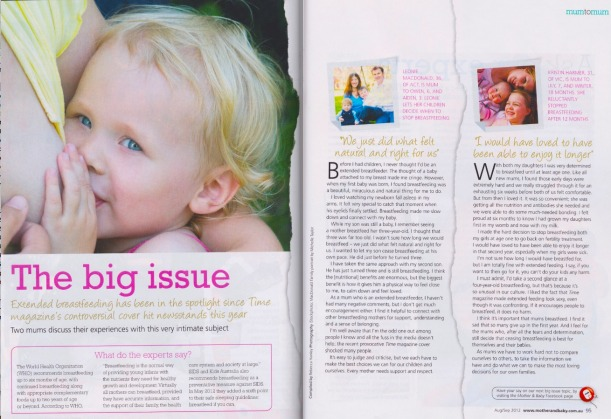 I was invited to write about my experience breastfeeding beyond the baby years for Mother & Baby magazine last year.